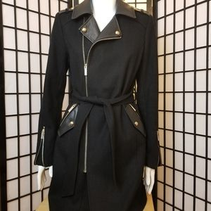 RW&CO Wool-blend coat with leather accents